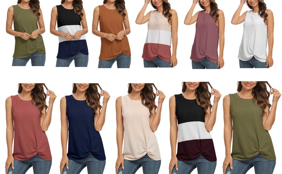 leeveless Waffle Knit Twist Knot Shirts Tank Tops