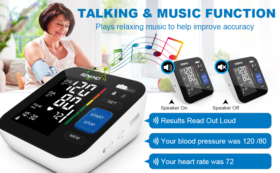 TALKING SPEAKING VOICE RELAXING MUSIC BLOOD PRESSURE MACHINE MONITOR