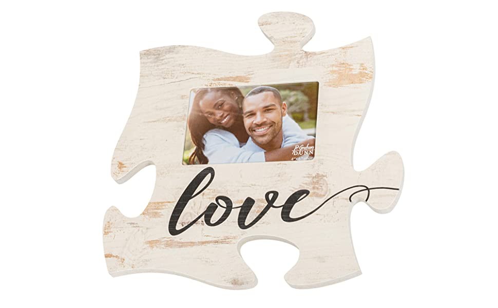 Graham Dunn Thankful Script Design Black Distressed Wood Look 4 x 6 Wood Puzzle Wall Plaque Photo Frame P