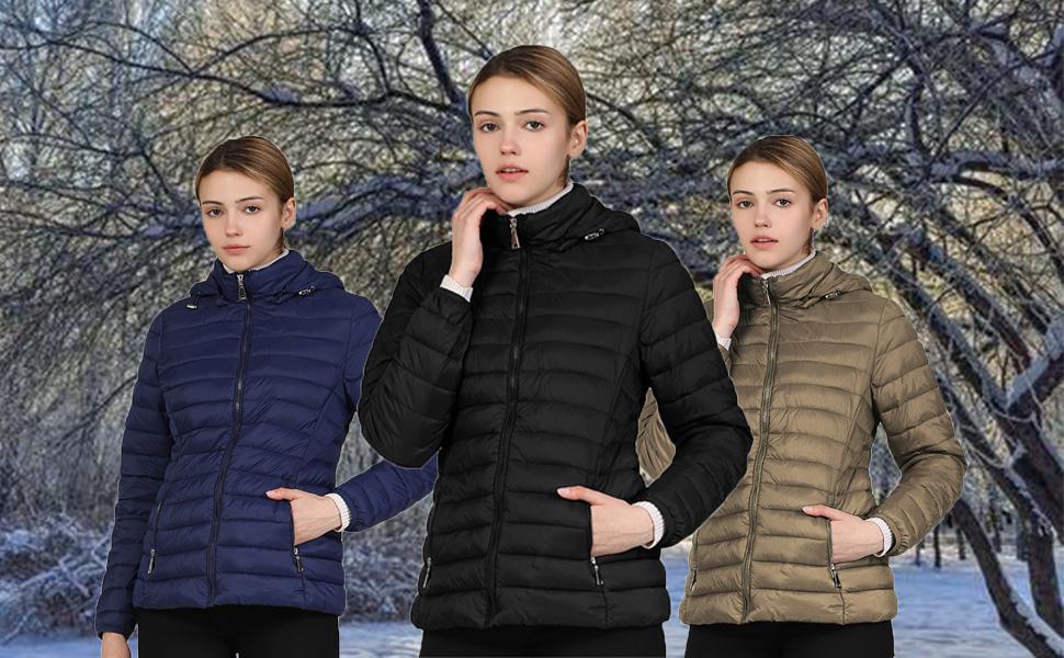 Women's Hooded Short Down Jacket Winter Down Parka Puffer
