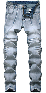 ripped jeans for men blue skinny biker holes slim fit hip hop straight tapered distressed