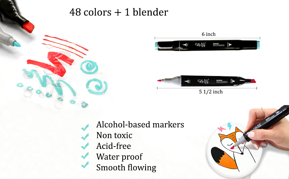 dual tip marker, coloring cavepop markers for adults, coloring fine tip pens, chisel point pen