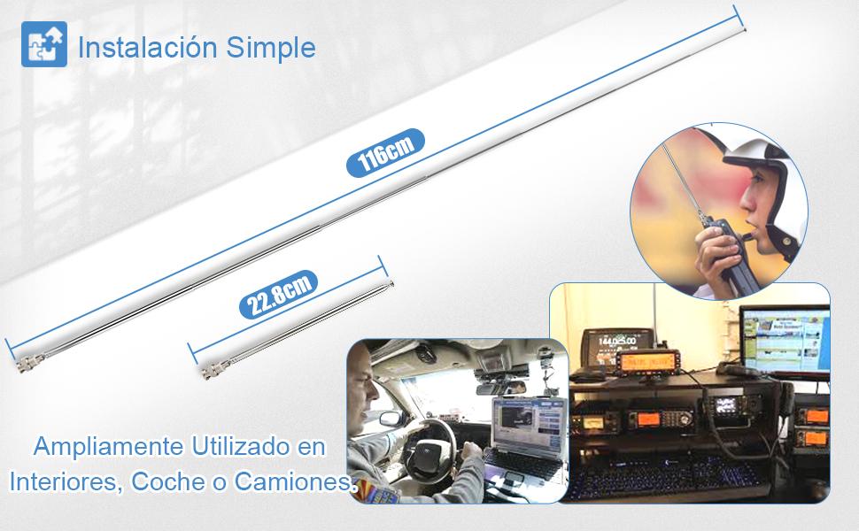 Bingfu Antena de Escáner Telescópico Portatil BNC 115 cm 7 Secciones para Radio CB Bidireccional Escáner de Radio Uniden Whistler Escáner de la ...