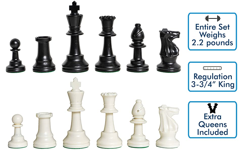 FREE Shipping 3X WEIGHTED CHESS PIECES with a 3.75 inch King /& extra Queens