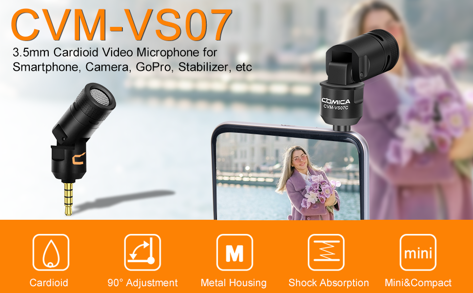 Cardioid microphone for smartphone , camera, gopro