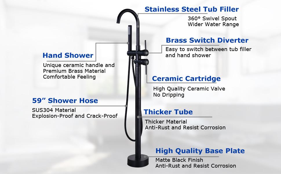 black floor mount faucet