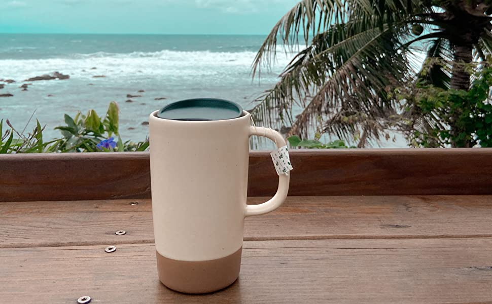 Our large ceramic tea mug is available in seven different colors