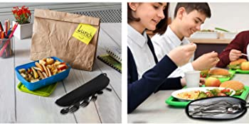 portable cutlery set with case for student, work