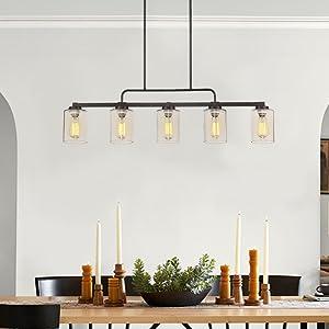 Beionxii 5-Light Kitchen Island Lighting Farmhouse Linear Chandelier
