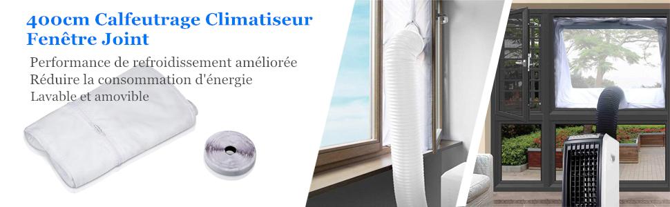 Fonctionne avec Toutes Les Unit/és de Climatisation Mobiles et S/èche-Linge Dricar Tissu de Calfeutrage de Fen/êtres pour Climatiseur Portatif 400CM