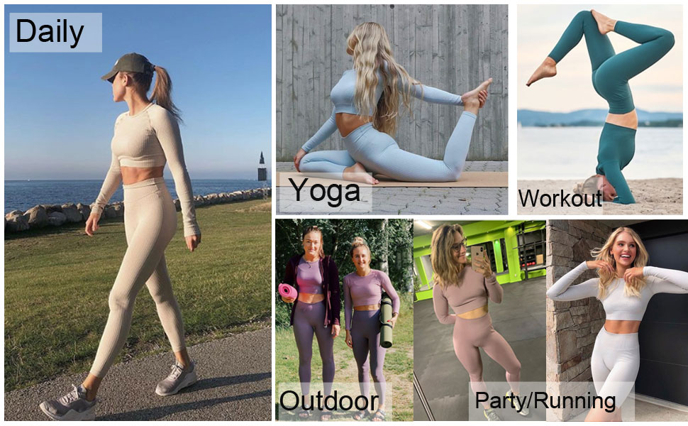 Long Sleeve Workout Outfits Sets for Women Fits for all occasions