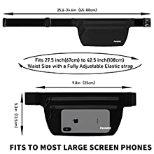 Fits waist sizes from 27.5 to 42.5 inch(67-108cm); Fits phones up to 6.5'' diagonal screen size