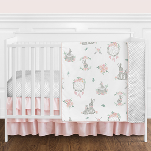 Blush Pink and Grey Woodland Boho Dream Catcher Arrow Gray Bunny Floral Crib Set without Bumper