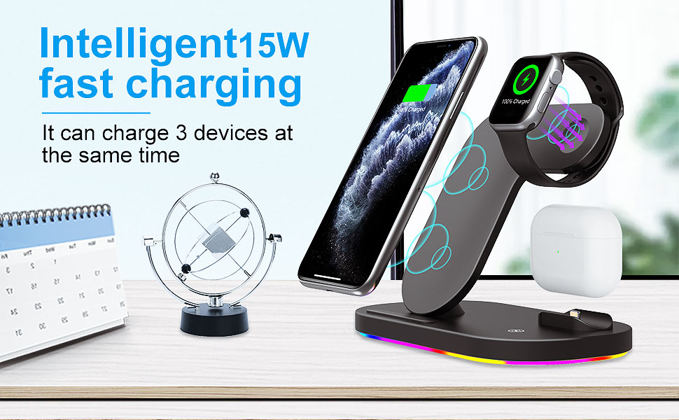 with a Plug FIPPER Wireless Charger 3 in 1 Qi-Certified 15W fast charging station for iWatch Series 1//2//3//4//5//6//SE,AirPods,Wireless Charging Stand Compatible with iPhone 12pro MAX//12 mini//11//XS//XR//8