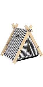 Pet Cat Teepee Tent with Soft Cushion, Portable Small Dog & Cat Canopy Tent Washable Bed for Kitty