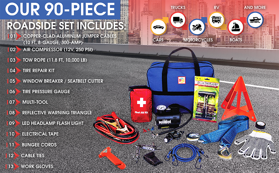 jumper cables air compressor tow rope strap tire repair window pressure tool triangle flashlight