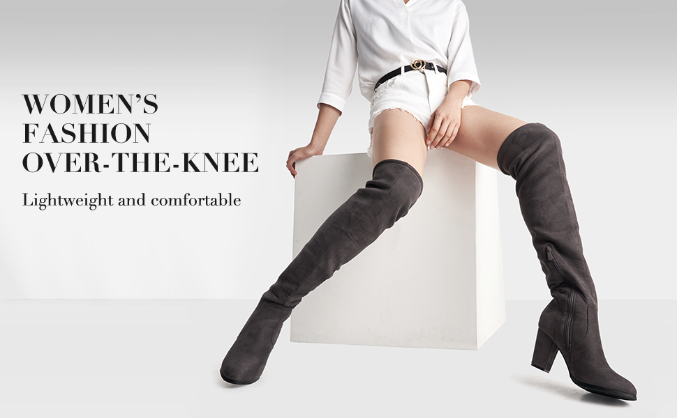 DREAM PAIRS Women's Thigh High Fashion Over The Knee Strech Block Mid Heel Boots