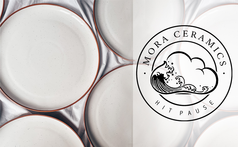 aerial view of dinner plates with our logo