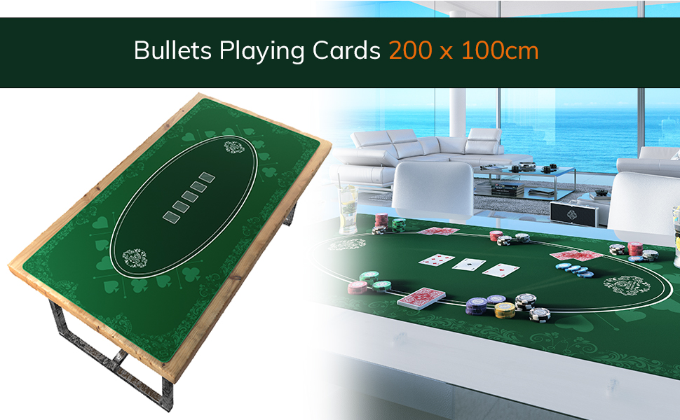 Tapis de poker Bullets Playing Cards Tapis de poker design bleu en 160 x 80 cm pour votre propre table de poker Tapis de poker