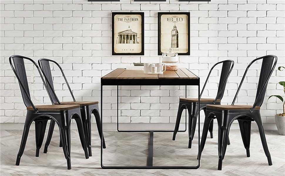 black wood top chairs