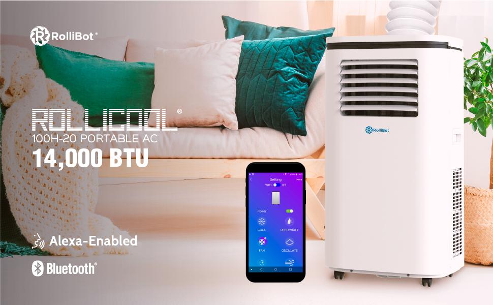 ROLLICOOL 110H-20 Alexa-Ready 14,000 BTU Portable Air Conditioning w/ Dehumidifying & App