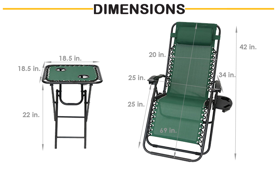 and leg area) x 42 inches tall; each chair weighs 15 pounds; weight capacity of 250 pounds