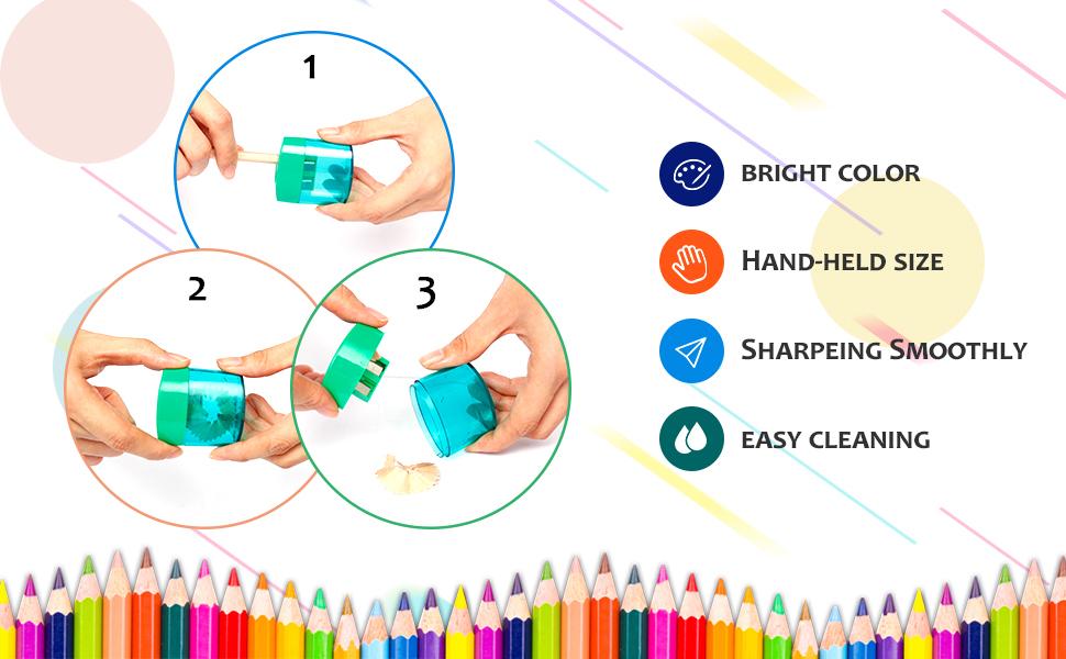 Pencil Sharpener, Sharpener for Pencils, Pack of 12, Pencil Sharpener Manual, 2 Holes