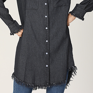HIKA Womens Button Down Tassel Jean Jacket Denim Lapel Shirt with Pockets