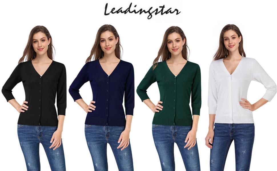 Leadingstar Women's 3/4 Sleeve Button Down Sweater Cardigan
