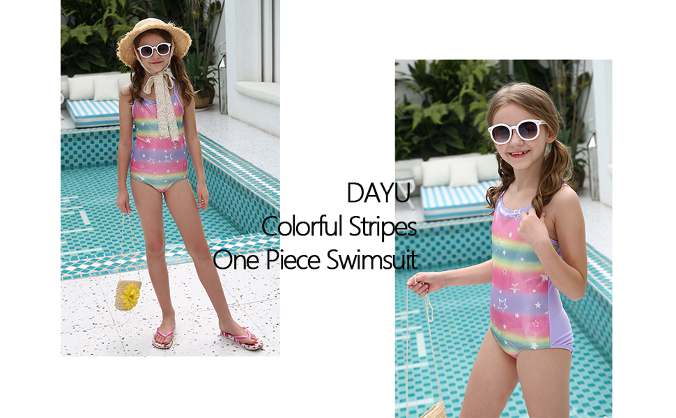Bokeley Swimsuits for Girls Stripe Rainbow One Piece Bathing Suit Beach Romper for Kids
