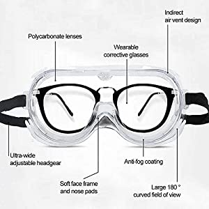 Glasses offers 360° protection to the eyes