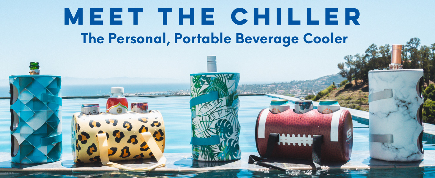 Chill Systems Chiller Portable Beverage Cooler Cans Bottles Beer Wine Coffee Soda Water