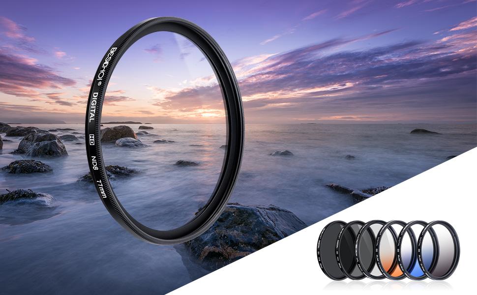 11 PCS Incluye CPL ND4 ND8 + Ultra Delgado Graduado Naranja Azul Gris Filtros + Aceesorios Beschoi 77mm Filtro de Cam/ára Lente Packs de Filtros Fotogr/áficos para Nikon Canon EOS DSLR C/ámaras