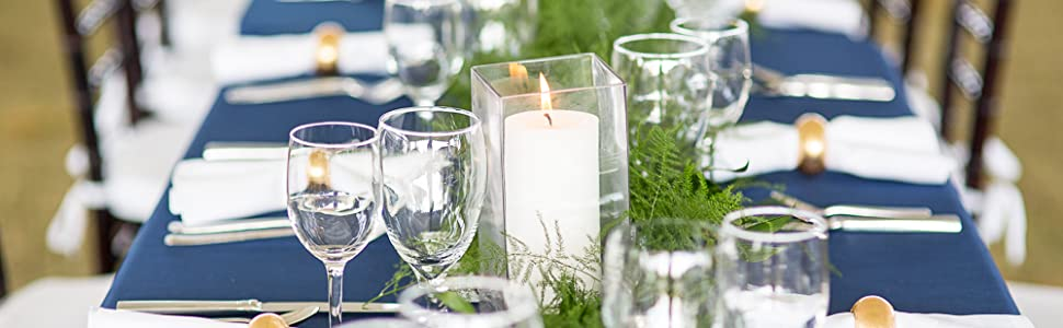 tablescape with candles and glassware