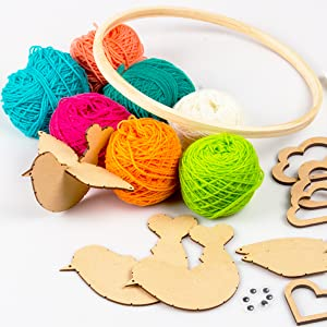 Diy Yarn Birds Hanging, Wall Art Decoration, Art and craft supplies, For Girls Ages 8 and up