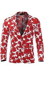 Men's Beach Floral Slim Casual Blazer Two Button Long Sleeve Sport Coat Jacket