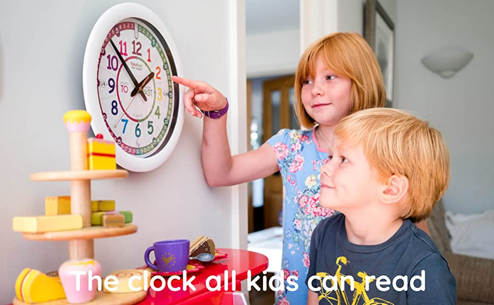 two kids looking at an EasyRead time teacher clock
