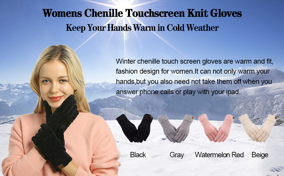 winter warm gloves for lady