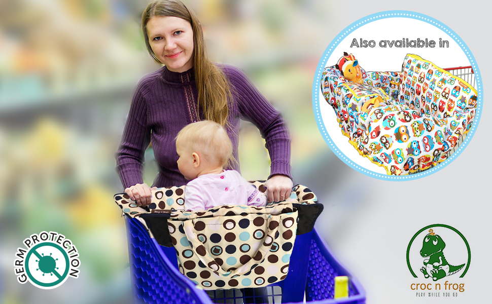 Croc n frog 2-in-1 Shopping Cart Covers for baby + High Chair Cover for Germ Protection