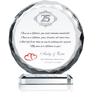 Personalized Crystal Gift for 25th Wedding Anniversary