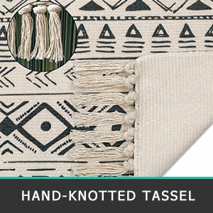 tassel cotton area rug with fringe