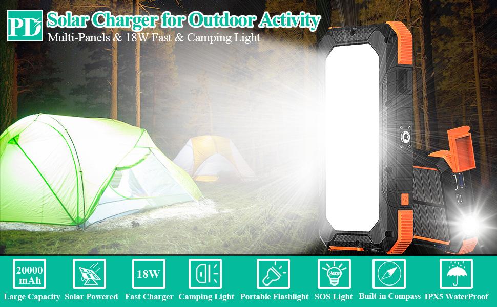 portable charger waterproof rugged external solar power bank