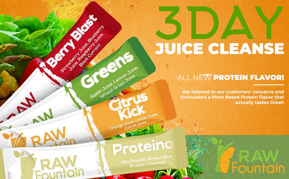 Juice Cleanse Raw Fountain Detox Superfood Supplement Weight Loss Powder On the Go