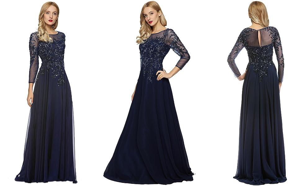 ec4f8382b3576 Meier Women's Starlit Beaded Long Sleeve Mother of The Bride Evening Gown