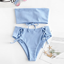Ribbed Lace Up Bikini Set