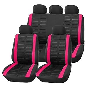 Upgrade4cars Auto Sitzbezüge Set Universal Auto Schonbezüge Schwarz Pink Mit Teilbarer Rückbank Auto Zubehör Innenraum Auto