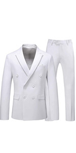 MOGU Mens 2 Piece Suit Slim Fit Double Breasted Blazer and Pants Solid Color Prom Tuxedo