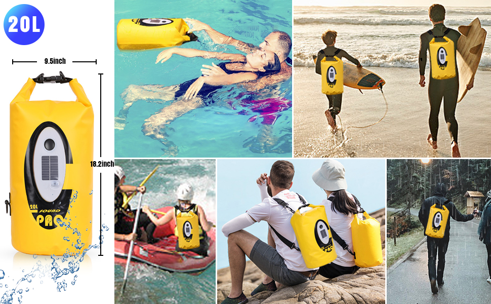 Kayaking Lighting Camping 20L Waterproof Dry Bag Backpack with Bluetooth Speaker Dry Bag Solar USB Powered Roll Top Lightweight Floating Dry Sack for Rafting Boating Beach Party Hiking
