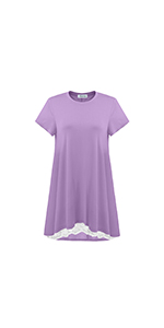 Women's Short Sleeves Tunic Tops Casual Lace T-Shirt Blouse