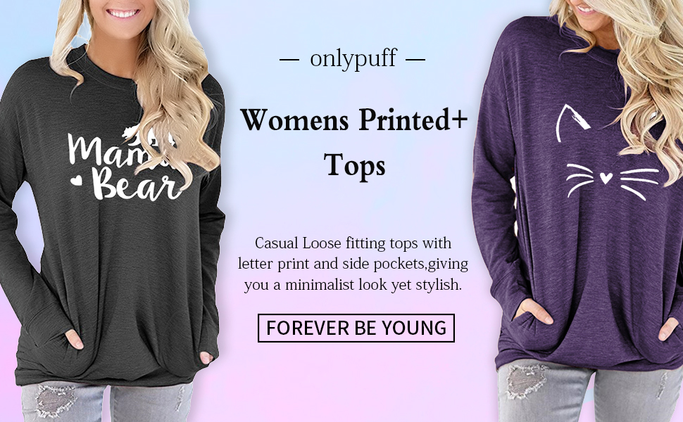 onlypuff Casual Loose Fit Pocket Shirt for Women Cute Mama Bear & Printed Tunic Tops Round Neck…